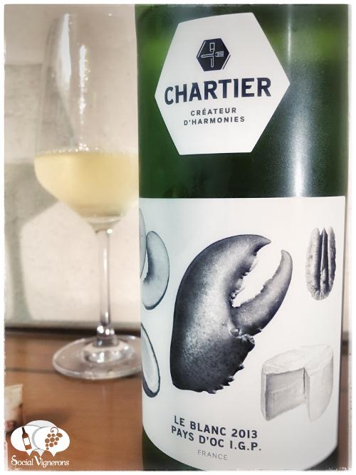 2013 Francois Chartier Le Blanc White Pay d'Oc bottle wine glass crab front label social vignerons small