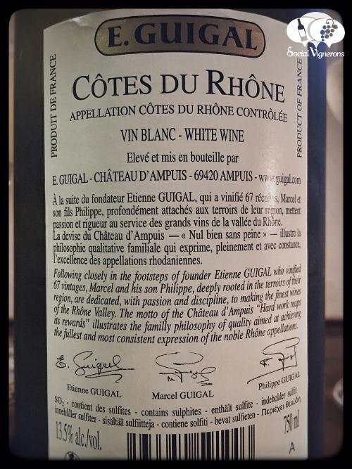 2014 E. Guigal Cotes du Rhone Blanc white back label wine glass bottle social vignerons small