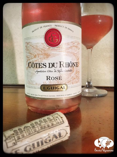 2015 E. Guigal Cotes du Rhone Rose front label wine bottle glass social vignerons small