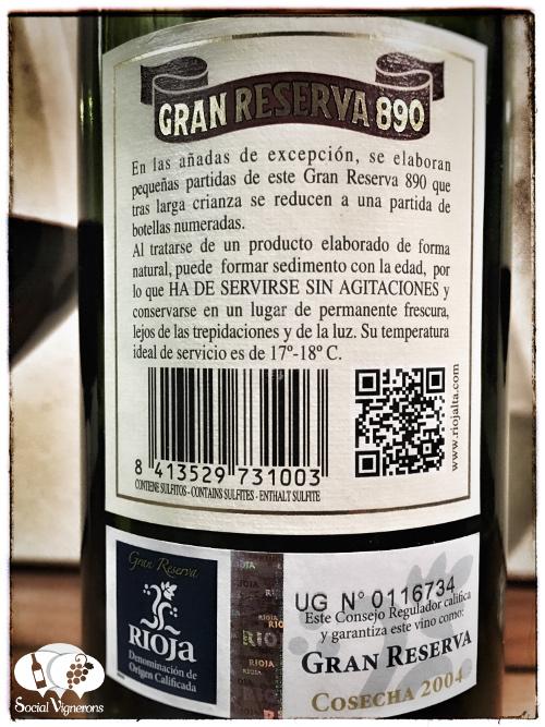 La Rioja Alta SA winery Gran Reserva 890 Tempranillo wine bottle glass back label social vignerons small