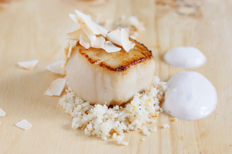 Pan seared scallops, blood orange Brazil nut couscous ginger coconut milk Francois Chartier Social Vignerons 2
