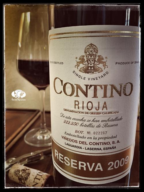 2009 CVNE Contino Reserva Rioja Tempranillo red wine front label social vignerons