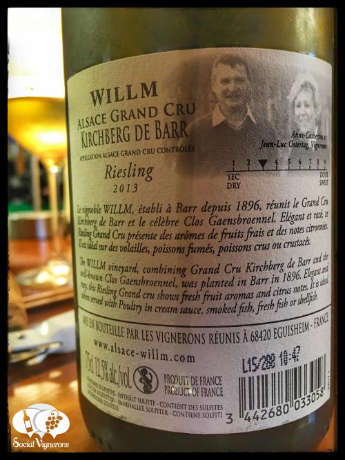 2013 Wilmm Kirchberg de Barr Riesling Grand Cru Alsace white wine back label social vignerons