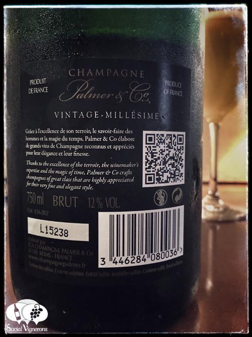 Champagne Palmer & Co 2008 Vintage Cuvee back label sparkling wine france social vignerons