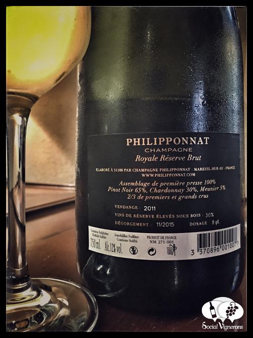 NV Philipponnant Royale Reserve Brut Champagne back label sparkling wine bottle glass review social vignerons