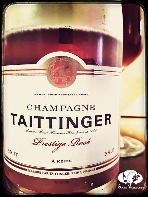 Taittinger Champagne Prestige Rose sparkling wine pink front label social vignerons small