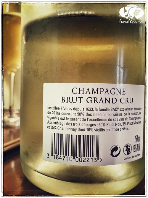 Louis de Sacy Champagne Brut Grand Cru wine sparkling review back label social vignerons small