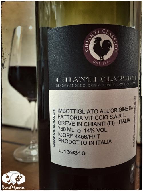 2013 Viticcio Chianti Classico Riserva back label, Tuscany wine Sangiovese black rooster social vignerons