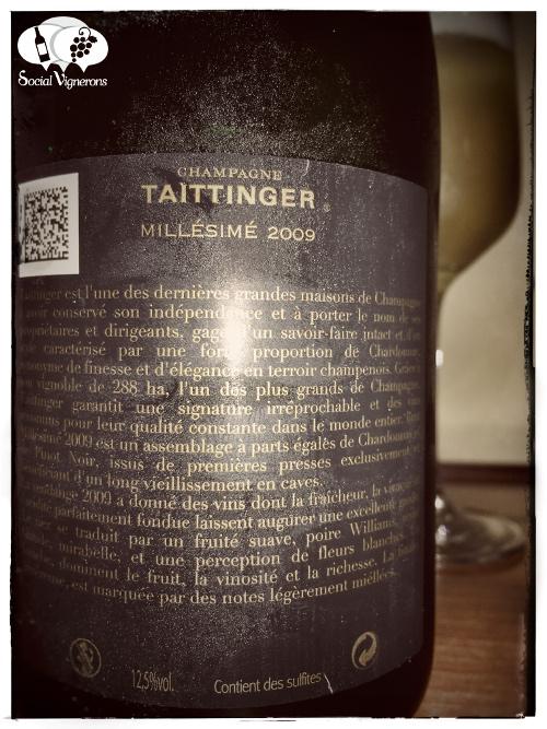 2009 Vintage Taittinger Brut Millesime Chardonnay Pinot Noir sparkling wine back label Champagne