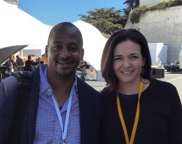 Had good quick chat with @sherylsandberg at #f8 #f815 about #leanin + diversity