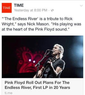 "TIME Magazine highlights the release of Pink Floyd's ""Endless River"" album by using a picture of ex-band member, Roger Waters"