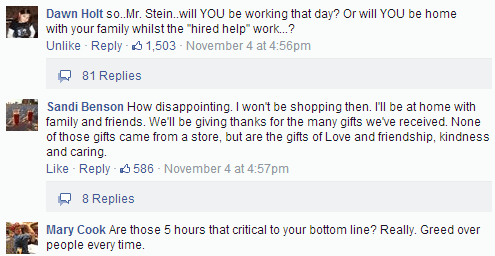 Comments on Stein Mart's Facebook page in response to Jay Stein's announcement the company would open on Thanksgiving day.