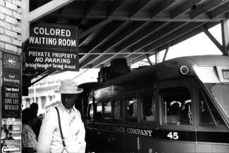 "Sign for the ""colored"" waiting room at a bus station in Durham, North Carolina, 1940"