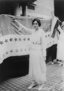 Alice Stokes Paul with the Suffrage Flag