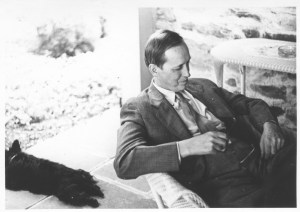 Harry Hopkins and FDR's dog Fala on the porch at Top Cottage in Hyde Park, New York, 1942