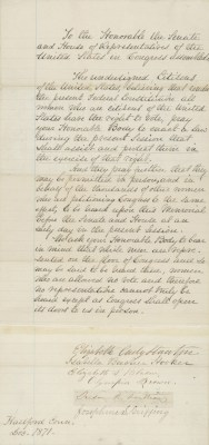 Letter to the United States Congress from Elizabeth Cady Stanton and Susan B. Anthony and others in Support of Women's Suffrage, 1871