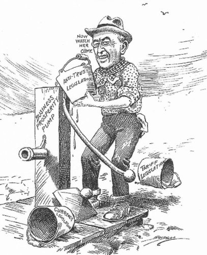 1914 cartoon showing Woodrow Wilson priming the pump, representing prosperity, with buckets representing legislation.