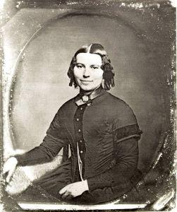 Clara Barton circa 1851 believed photographed in Clinton, New York. Earliest known photograph of Clara Barton