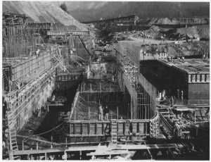 Public Works Administration Project and U.S. Army Corps of Engineers constructing Bonneville Power and Navigation Dam in Oregon.