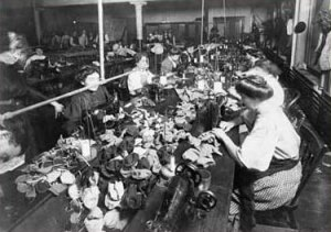 Women making teddy bears in a factory, 1915