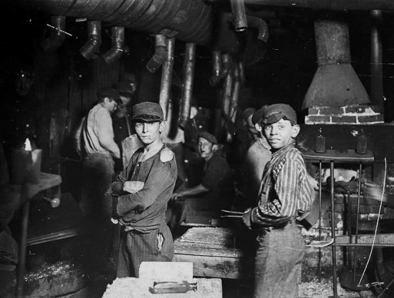 Glass Works. Midnight. Indiana. Children at work. Photograph by Lewis Wickes Hine, April 1908