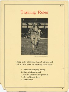 Keep fit for athletics, study, business, and all of life's tasks by adopting these rules: 1. Exercise and play wisely. 2. Eat wholesome food. 3. Get all the fresh air possible. 4. Get sufficient sleep. 5. Keep clean9 Treat every girl as you would like to have another man or boy treat your sister, girl friend, or sweetheart.
