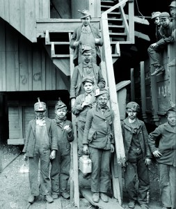 Breaker boys working in the Woodward Coal Mines in Kingston, Pennsylvania, ca. 1900.
