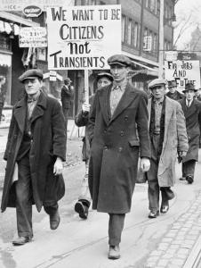 Unemployed men marching for jobs during the Great Depression