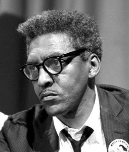 Bayard Rustin at news briefing on the Civil Rights March on Washington in the Statler Hotel
