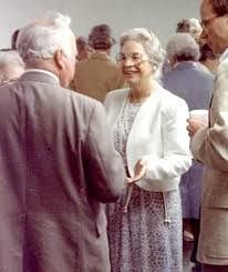 Meg shares the joy at the dedication of the stained glass window she commissioned for the Danville Congregational Church, dedicated to mother, Eva Crane Goff, in 1988