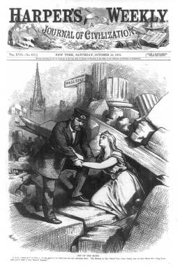 This Harper's Weekly illustration of Wall Street after the Panic of 1873 shows President Grant helping America, depicted as the woman on the right, escape from urban rubble.