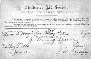 Even at the turn of the century, welfare organizations like the Children's Aid Society held great discretion in removing children from the home and controlling contact with members of their faith heritage. Orphan trains continued until 1929, and the scope was hundreds of thousands of children who had been re-located.