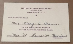 Mary E. Brown's Membership Card for the National Woman's Party