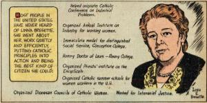 """This is the last segment of the cartoon strip, """"Catholics in Action"""" which told the story of Bresette on February 26, 1953. This final segment reviews key lifetime contributions she made."""