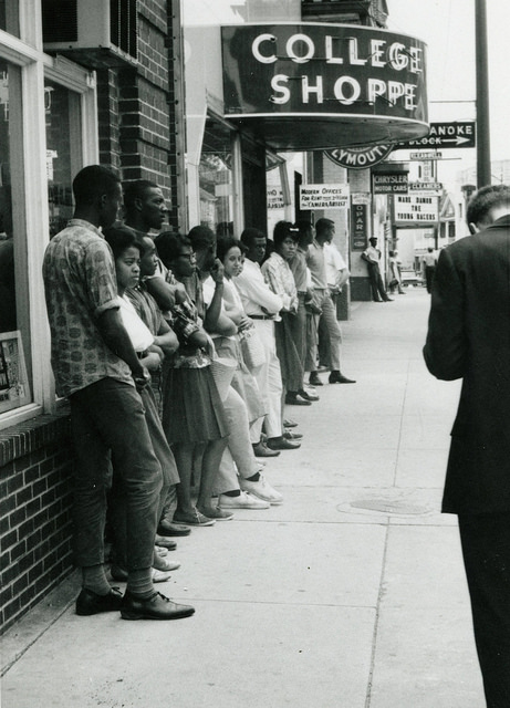 "Farmville, Protests outside ""whites-only"" College Shoppe restaurant, 1963."