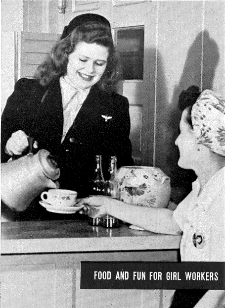 """Food and Fun for Girl Workers"" A woman pours coffee for a female worker"