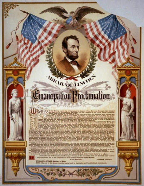 Emancipation Proclamation printed broadside with picture of Abraham Lincoln, the American flag and an eagle.