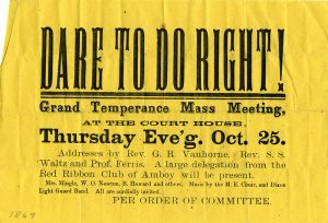 Temperance Meeting handbill, October 25, 1866
