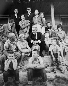 Pres. Lyndon Johnson and Gov. Terry Sanford pose with the Marlow family in Rocky Mount.