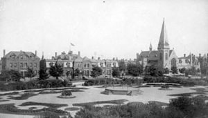 Greenstone Church and Arcade park in Pullman, Chicago