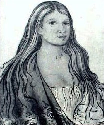Drawing representing Nancy Ward. She has long hair and wears a shawl over one shoulder