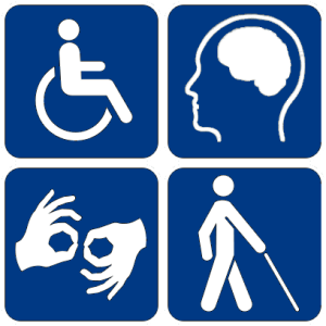 Icons representing various disabilities and access