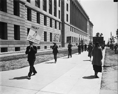 """Picketers with signs: """"Help the Southern Tenant Farmers Union,"""" etc., 1935"""