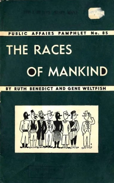 Pamphlet cover shows a cartoon image of 8 people from different world cultures in native attire