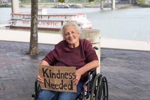 """Rose Abrams -- homeless and seeking warmheartedness in Cincinnati, Ohio."""