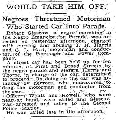 Emancipation Day arrest, April 4 1905
