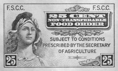 Image of one of the first food stamps printed in 1939