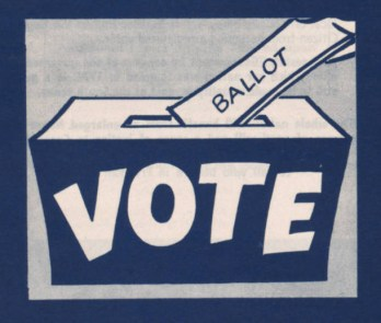 Drawing of a vote going into a ballot box