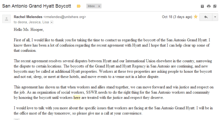 San Antonio Grand Hyatt Boycott Email