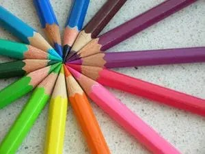 Photo of colored pencils in a circle